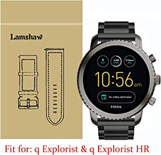 Lamshaw Smartwatch Band for Fossil Q Explorist, Stainless Steel Metal Replacement Straps for Fossil Q EXPLORIST Gen 3 / Q ...