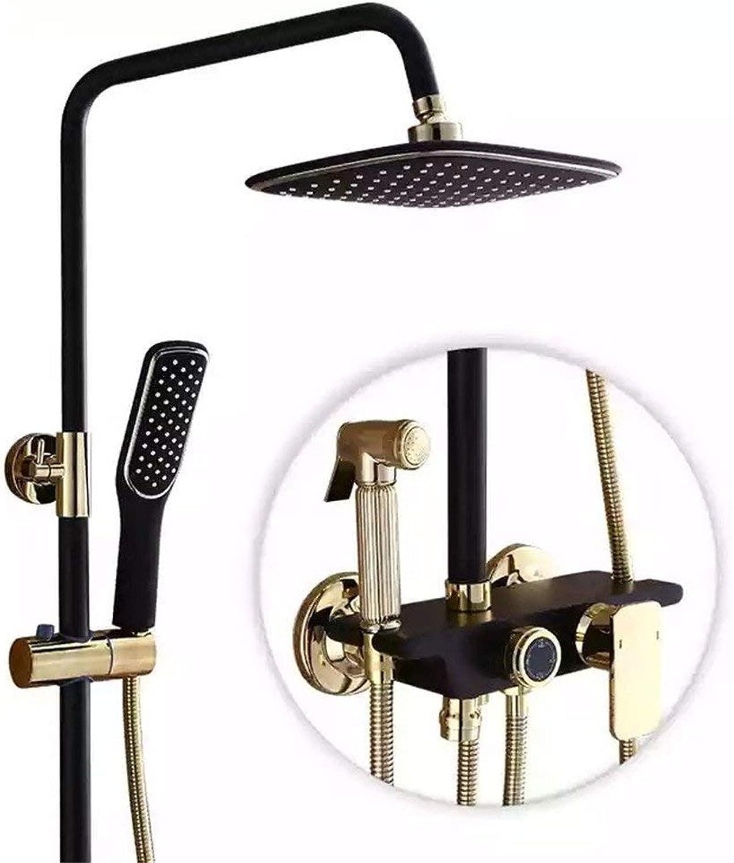 Bad schwarz Gold Duschkopf Anzug vier Gang voll Verkupferung Duschkopf Handbrause Badewanne Dusche system