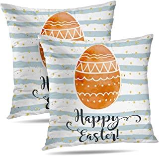 Alricc Set of 2 Happy Easter Greeting Card Festive Colorful Holiday with Doodle Eggs Decorative Throw Pillows Cushion Cover for Bedroom Sofa Living Room 18 x 18 Inch