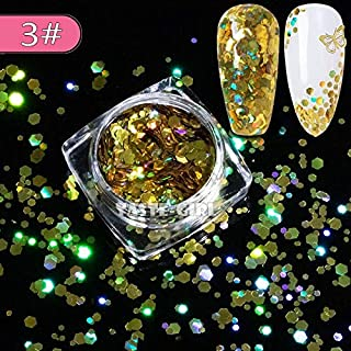 1 Jar Super Starr Mix Sizes Hexagon Nail Glitter Laser Holographic Sequin Arylic Nail Art Paillette Decals DIY Tips XH# (XH03)