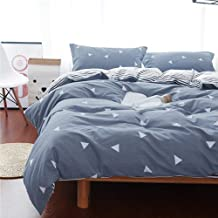 Uozzi Bedding Queen Duvet Cover Set Blue Gray & Triangles 3 Pieces (1 Summer Duvet Cover 90x90 + 2 Pillow Shams) 800 - TC Luxury Hypoallergenic Comforter Cover with 4 Ties Best Style for Men Women