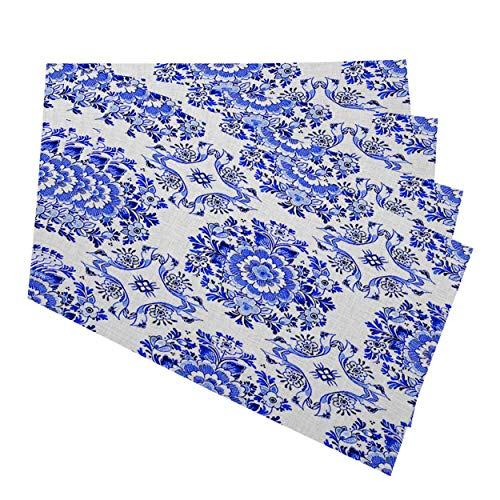 Mugod Placemats White Blue Watercolor Dutch Floral Tiled Flowers in Circular Rosette Cobalt Decorative Heat Resistant Non-Slip Washable Place Mats for Kitchen Table Mats Set of 4 12'x18'