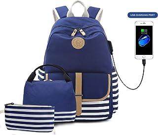 Lightweight Canvas Backpack Cute Stripe School Backpack Bookbag for Teen Girls Women with USB Charging Port