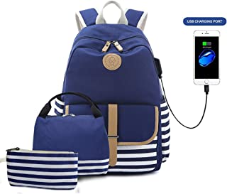 Goodking Canvas Backpack Cute School Backpack Lightweight Laptop Bag with USB Charging Port and Insulated Lunch Bag & Pencil Case for Teen Girls Women, 3 in 1 Blue