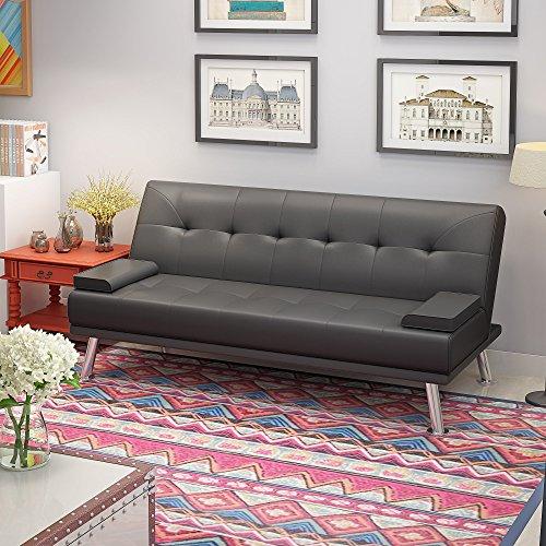 Panana Divano letto a 3 posti, in ecopelle, moderno divano ad angolo, con 2 piccoli cuscini, per salotto e soggiorno Grigio