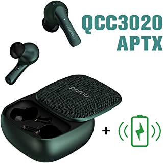 Pamu Slide Earbuds Padmate True Wireless Earbuds with Mic Qualcomm APTX, 2000mAh 60h Cycle Playtime, Volume Control, Wireless Charger(Green)