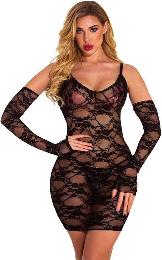 Gergeos Womens Lace Black Perspective Nightdress with Thong Babydoll Underwear Lingerie