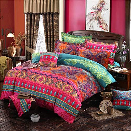Juego de funda de edredón bohemio, diseño de mandala floral, 100% algodón, 1 funda de edredón y 2 fundas de almohada (3 piezas, tamaño king size)