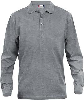 Clique Clothing, polo da uomo a maniche lunghe, in cotone, taglio classico, peso medio