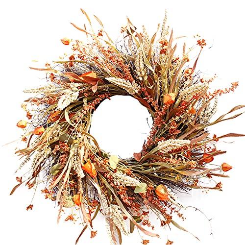 BOICXM Couronne d'automne de 61 cm avec blé artificiel pour porte d'entrée, mur, mariage, Thanksgiving