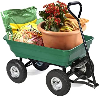 FDW Garden Utility Yard Dump Cart Carrier Wheelbarrow 4 Air Poly Pulling Wagon 10