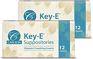 Carlson - Key-E Suppositories, 30 IU Vitamin E Suppository, Lubricates Dry Areas, Treatment for Women and Men, Vaginal & R...