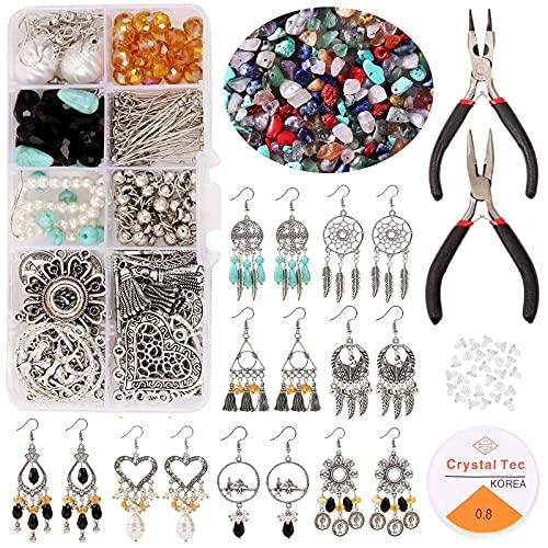 DIY Bijoux, VEGCOO Kit de Fabrication de Boucles d'Oreilles, 130 PCS Naturelle Perles Pierre pour la Fabrication de Bijoux Boucle d'Oreille