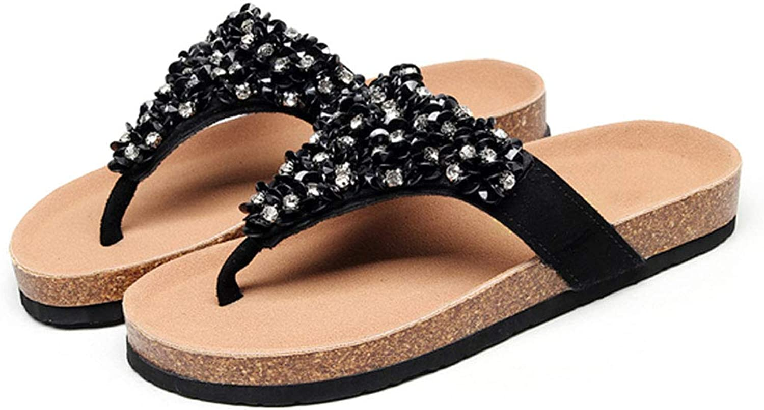 HUYP Flip-Flop Girl Black Sweet Cork Slippers Female Summer Beach Sandals and Slippers (Size   6 US)
