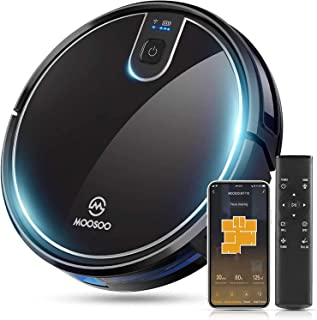 MOOSOO Robot Vacuum Cleaner, 2000Pa Strong Suction, Compatible with Alexa, Self-Charging, Various Cleaning Modes for Pet H...