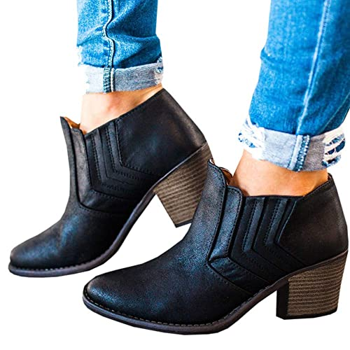 Huiyuzhi Womens Vintage Pointy Toe Ankle Booties Chunky Stacked Heel Boots