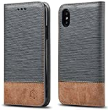 WenBelle for iPhone Xs/iPhone X Case, Stand Feature,Double Layer Shock Absorbing Premium Soft PU Color Matching Leather Wallet Cover Flip Cases for Apple iPhone Xs/X 5.8 inch (Grey)