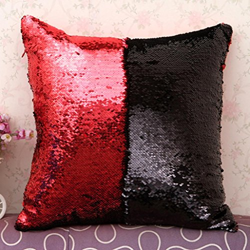 Elogoog Double Color Reversible Sequins Mermaid Sofa Bed Pillow Case Zippered Square Decoration Cushion Covers for Home Decor DIY (16 x 16 Inches, Double Color_B)
