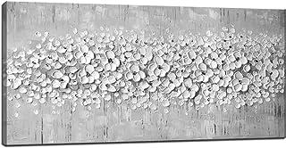100% Pintadas a Mano 3D Pinturas al Óleo Cuchillo de Paleta de Flor Blanca Gris Sobre Lienzo Pintura Abstracta de Arte de Pared Para Sala de Estar Decoración(Sin Marco),40X80cm (16X32 Pulgadas)