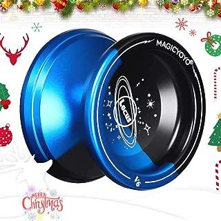 YOSTAR MAGICYOYO V6 LOCUS Yoyos for Kids Responsive Yoyo Metal Yoyo Beginner Yoyo, Christmas Birthday Gift + 5 Yoyo Strings, Bag, Glove (Black & Blue)