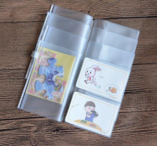 Conjunto Funcoo de 4 bolsos com zíper, refil de plástico, transparente, bolsa para caderno de viagem de tamanho padrão, Passport Size