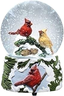 Glitterdomes 6 inch Tall Musical Sculpted Base and Features a Pair of Cardinals Inside, 100mm