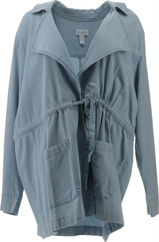 Studio Denim& Co Open Front Jacket Waist Tie A376898