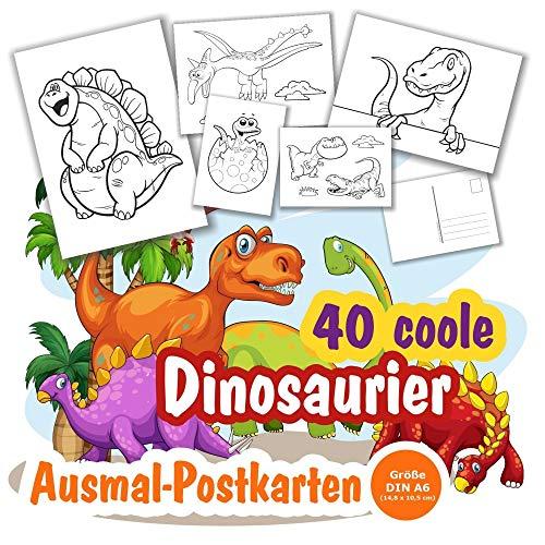 40 x Postkarten Ausmalbilder Dinosaurier zum Anmalen und Ausmalen für alle Dino-Fans. Individuelle Postkarten für Kinder zum Verschicken. Größe Din A6. 40 Stück.