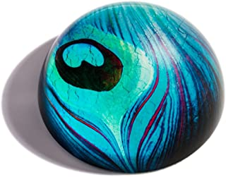 The Metropolitan Museum of Art Glass Peacock Feather Paperweight, Desk Décor