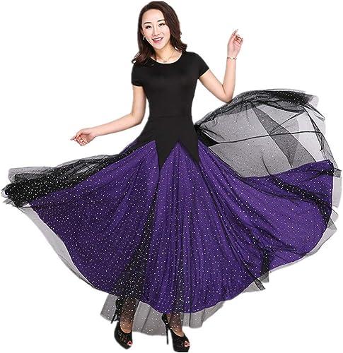 SCYTSD Robes de Danse de Salon à Manches Courtes pour Femmes Robes de Danse Valse de Danse de Salle de Bal