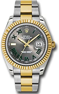 Rolex Datejust II 41 Grey Green Roman Dial Steel 18k Yellow Gold and Diamonds Mens Watch