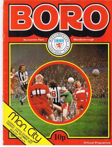 Middlesbrough v Manchester City FC 27/12/77 (Ayresome Park) football programme