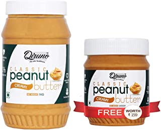 Diruno® Classic Peanut Butter Creamy 1kg Unsweetened, Gluten Free (Buy 1kg Get 340g Free)