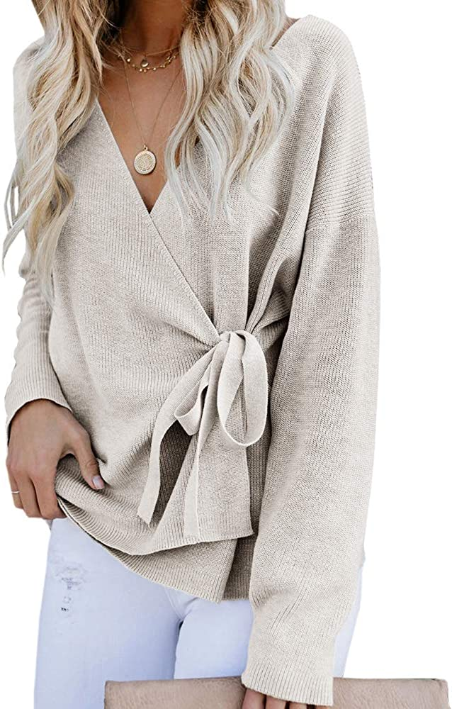 Womens Long Sleeve Tie Knot Wrap Cardigans V Neck Casual Ribbed Knit Sweaters Tops