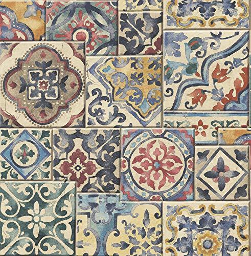 Brewster 2701-22301 Marrakesh Multicolor Global Tiles Wallpaper