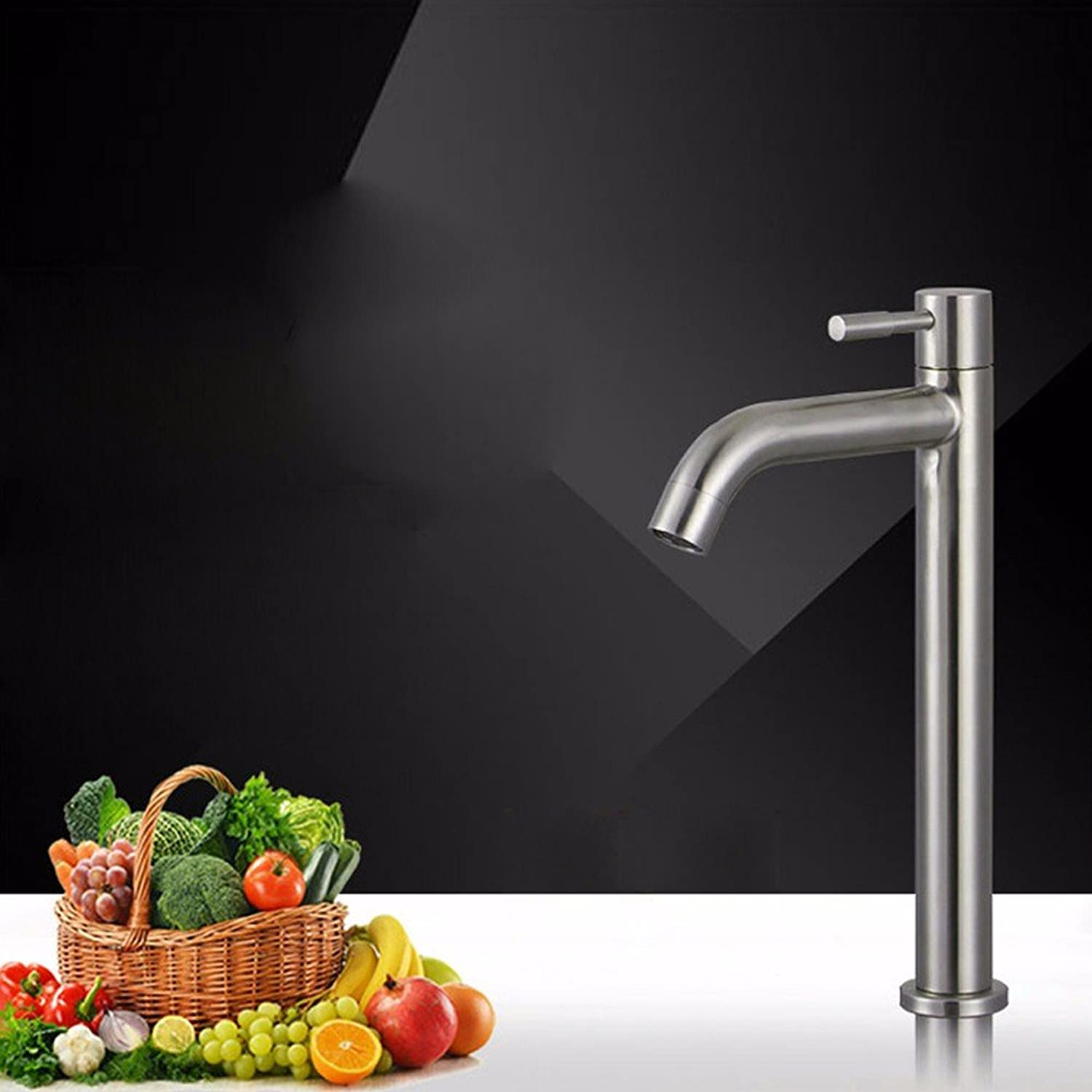 AJUNR-Toiletries Stainless Steel Single Cold Wash Basin Basin Brushed Mixer Tap