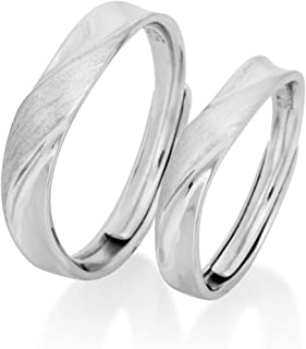 Nature Rebel - Coppia di anelli in argento 925 spazzolato opaco, misura regolabile
