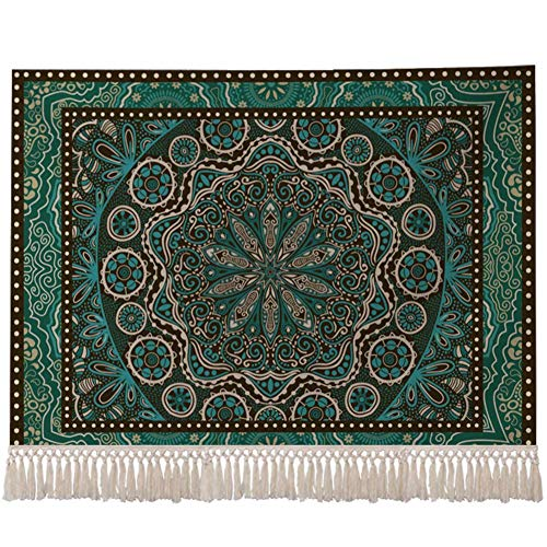 YLCJ Retro Ethnic Style Tassel Tapestry, Linen and Cotton Blend Wall Hanging Tapestry for Home A 100x70cm (39x28 inch)