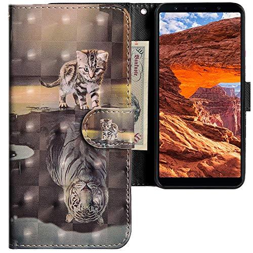 CLM-Tech kompatibel mit Samsung Galaxy A7 (2018) Hülle, Tasche aus Kunstleder PU Lederhülle, Wallet Klapphülle mit Stand & Kartenfächern, Katze Tiger grau