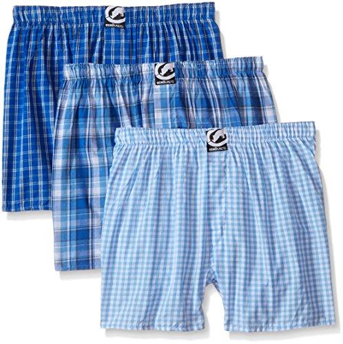 Ecko Unltd. Men's 3pk Woven Boxers 293, Light Blue Plaid, Large