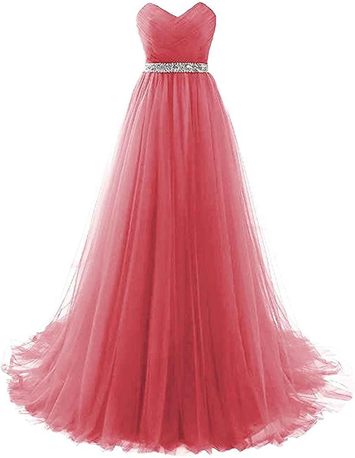 LastBridal Women Tulle Strapless Prom Bridesmaid Dresses Long Formal Evening Gowns