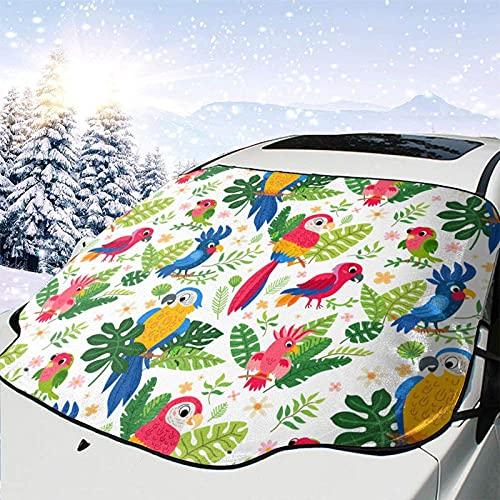 Tcerlcir Cubierta de Nieve para Parabrisas de Coche Pájaros Tropicales Lindos en la Jungla Cubierta de Parabrisas Cubierta de Nieve Delantera Parasol Protector de Parasol Plegable, 147x118cm