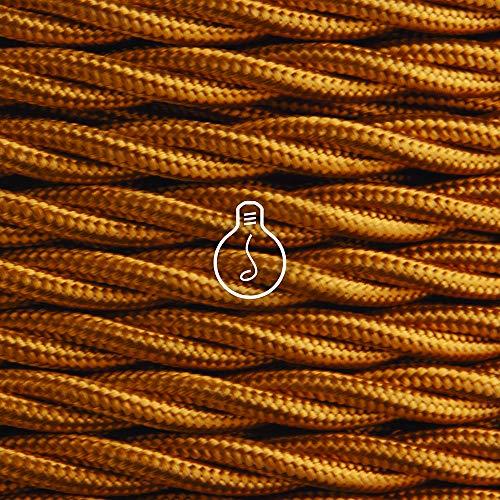 Amarcords - Cable de tela color WHISKY, trenzado, seda, 3 metros, con 2 conductores 2x0,75 - Hilo eléctrico textil de color estilo clásico para lámparas bricolaje y iluminación vintage.