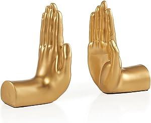 Danya B. NY8003GLD Contemporary Accent Book Shelf Decor - Hands Sculpture Bookend Set