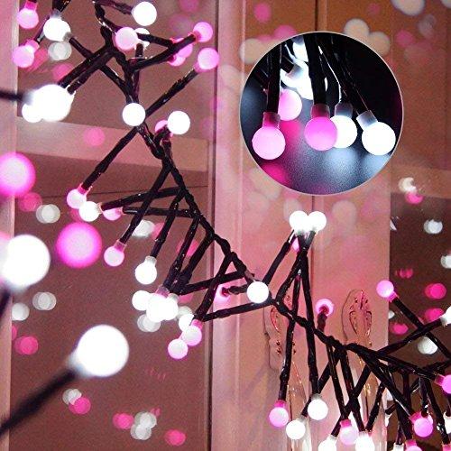 150er LED Kugel Lichterkette - ELINKUME® 3,5M/11,5ft Romantische Weiß+Rose Globe Deko Lichter Batteriebetrieben String Licht Dekorative Beleuchtung für Weihnachten Garten Balkon Fenster