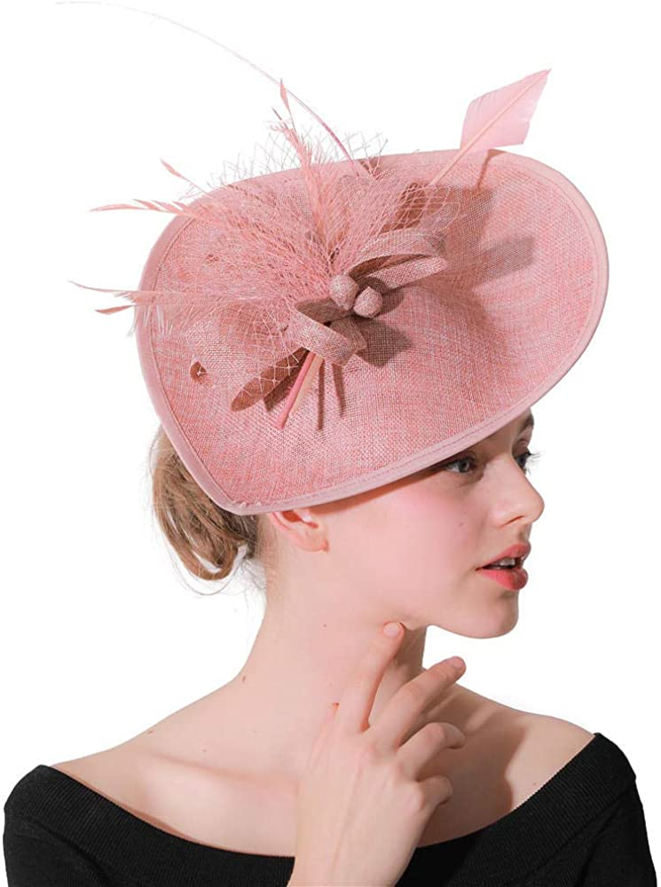 SUNS Fascinators Hats Hat Pillbox Hat Cocktail Tea Party Headwear with Veil for Girls and Women Mesh Heart Hat Hair Accessories-Powder