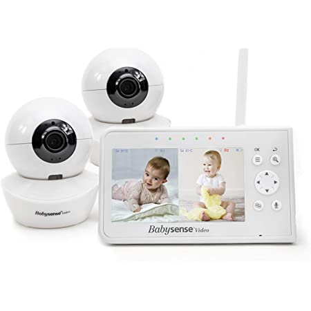 """Baby Monitor, Babysense 4.3"""" Split Screen, Video Baby Monitor with Two Cameras and Audio, Remote PTZ, 960ft Range (Open Space), Adjustable Night Light, Two-Way Audio, Zoom, Night Vision, Lullabies"""