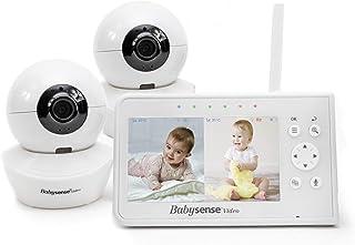 Babysense - Monitor de bebé (pantalla dividida de 4,3 pulgadas, monitor de bebé con dos cámaras y audio, PTZ remoto, alcance de 960 pies (espacio abierto), luz nocturna ajustable, audio bidireccional, zoom, visión nocturna, canciones de cuna