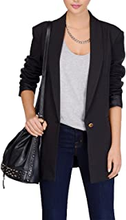 HaoDuoYi Women Business Longline Basic Lapel Collar Blazer Jacket