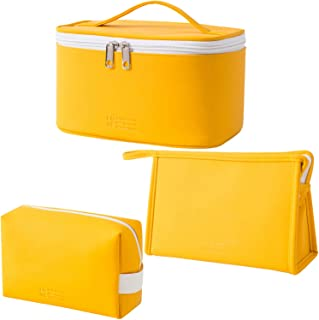 مجموعة من 3 حقائب مكياج من ميراسون، حقيبة سفر لتنظيم مستحضرات التجميل وسحّاب حقيبة هدايا للفتيات، مصنوعة من جلد البولي يور...